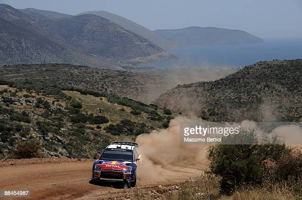 Sebastien Loeb of France and Daniel Elena of Monaco in action in the Citroen C4 Total during Leg 1 of the WRC Acropolis Rally of Greece on June 12...