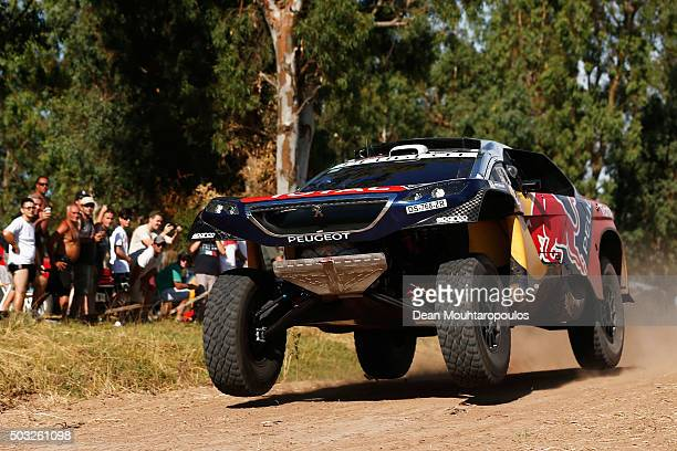 Sebastien Loeb of France and Daniel Elena of Monaco in the PEUGEOT 2008 DKR for TEAM PEUGEOT TOTAL compete in the Dakar Rally Prologue on January 2...