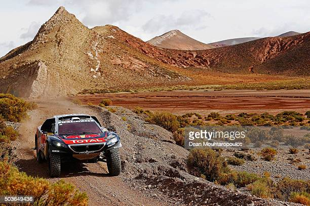 Sebastien Loeb of France and Daniel Elena of Monaco in the PEUGEOT 2008 DKR for TEAM PEUGEOT TOTAL compete on day 4 in the San Salvador de Jujuy...