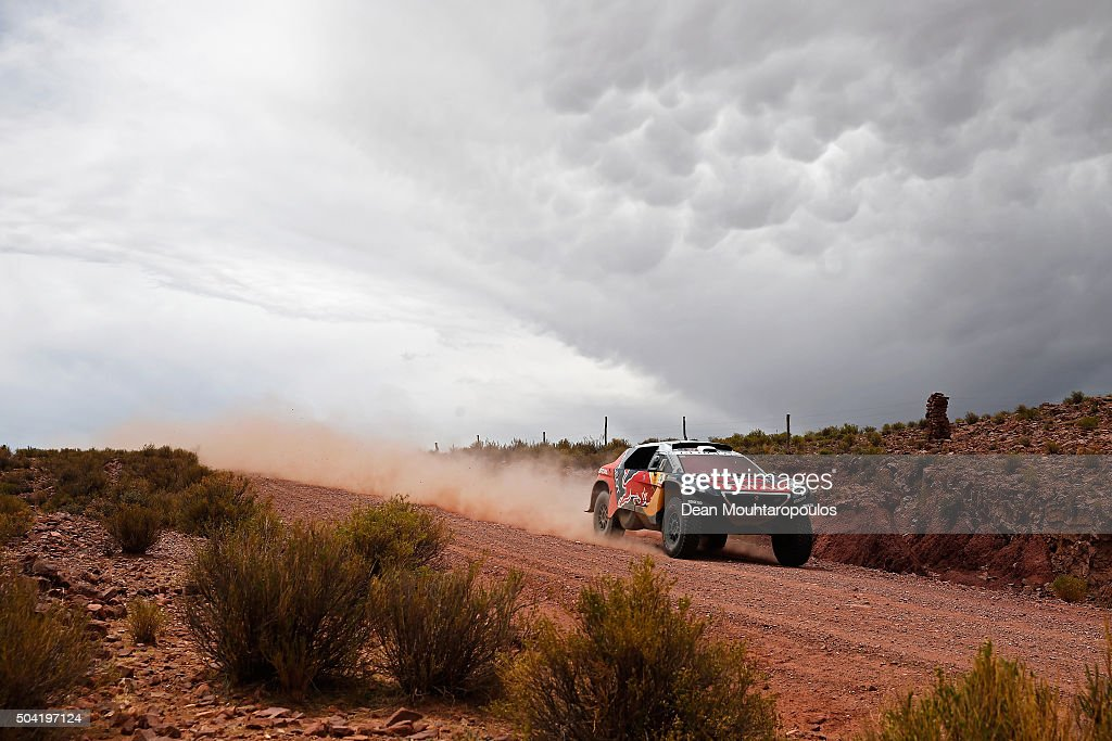Sebastien Loeb of France and Daniel Elena of Monaco in the PEUGEOT 2008 DKR for TEAM PEUGEOT TOTAL competes on day 7 stage seven from Uyuni in Bolivia to Salta in Argentina during the 2016 Dakar Rally on January 9, 2016 in near La Quiaca, Argentina.