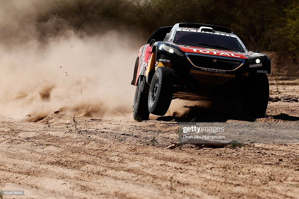Sebastien Loeb of France and Daniel Elena of Monaco in the PEUGEOT 2008 DKR for TEAM PEUGEOT TOTAL compete on day 10 stage 9 during the 2016 Dakar Rally on January 12, 2016 in near Belen, Argentina.