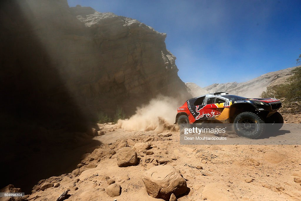 Sebastien Loeb of France and Daniel Elena of Monaco in the PEUGEOT 2008 DKR for TEAM PEUGEOT TOTAL compete on day 12 / stage eleven between La Rioja to San Juan during the 2016 Dakar Rally on January 14, 2016 near San Juan, Argentina.