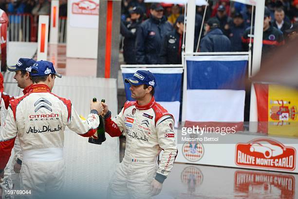 Sebastien Loeb of France and Daniel Sordo of Spain celebrate at the final ramp during day five of the WRC Monte-Carlo rally on January 20 , 2013 in...