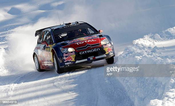 Sebastien Loeb of France drives his Citroen on February 13 2010 in Hagfors during the second day of Rally Sweden Loeb is second in the world...