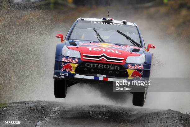 Sebastien Loeb of France drives the Total Citroen C4 during the Sweet Lamb stage of the Wales Rally GB on November 12, 2010 in Llangurig, Wales.