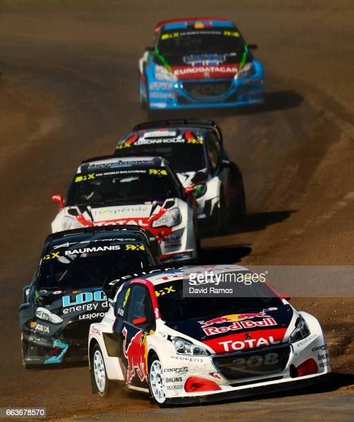 Sebastien Loeb of France driving the Peugeot 208 WRX Supercar Team PeugeotHansen leads the fourth qualifying round of the FIA World Rallycross...