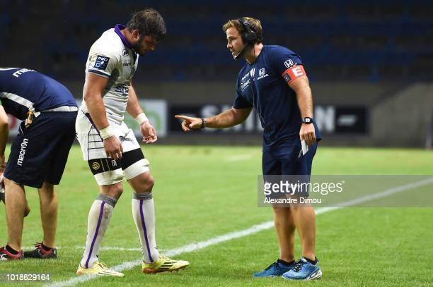 Sebastien Lualhe and Julien Lairle coach of Soyaux during the French Pro D2 match between Beziers and Soyaux Angouleme on August 17 2018 in Beziers...