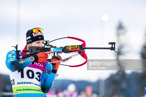 Sebastien Mahon of France at the shooting range during the Men 20 km Individual Competition at the IBU Open European Championships Duszniki Zdroj at...