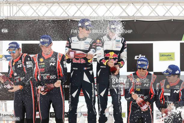 Sebastien Ogier and Julien Ingrassia 1th, Thierry Neuville and Nicolas Gilsoul 2th and Dani Sordo and Marc Marti 3th during the Podium Ceremony of...