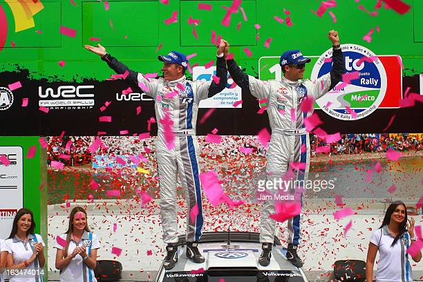 Sebastien Ogier and Julien Ingrassia of France celebrate during day three of FIA World Rally Championship Mexico on March 10 2013 in Leon Mexico