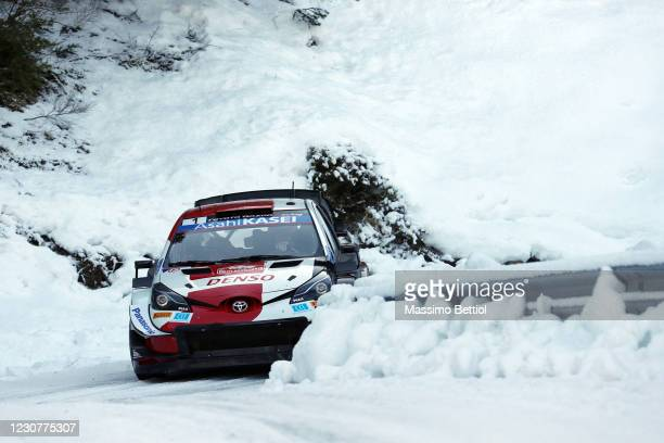 Sebastien Ogier and Julien Ingrassia of France compete with their Toyota Gazoo Racing WRT Toyota Yaris WRC during day four of the FIA World Rally...