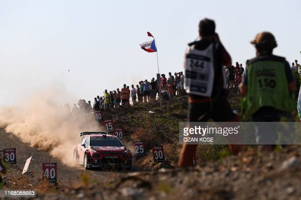 Sebastien Ogier from France and his co-driver Julien Ingrassia from France steer their Citroen C3 WRC car during the third day of the 2019 FIA World...