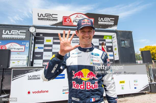 Sebastien Ogier of Ford Fiesta WRC celebrates the victory at the Power Stage podium at the end of the SS19 Fafe Power Stage of the WRC Portugal on...
