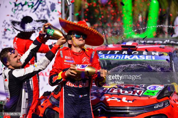 Sebastien Ogier of France and Citroen Total WRT celebrates after his victory during day three of the FIA World Rally Championship Guanajuato Mexico...