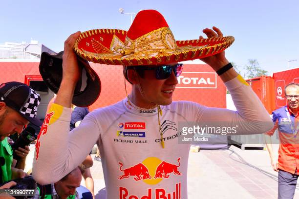 Sebastien Ogier of France and Citroen Total WRT celebrates his victory after day three of the FIA World Rally Championship Guanajuato Mexico on March...