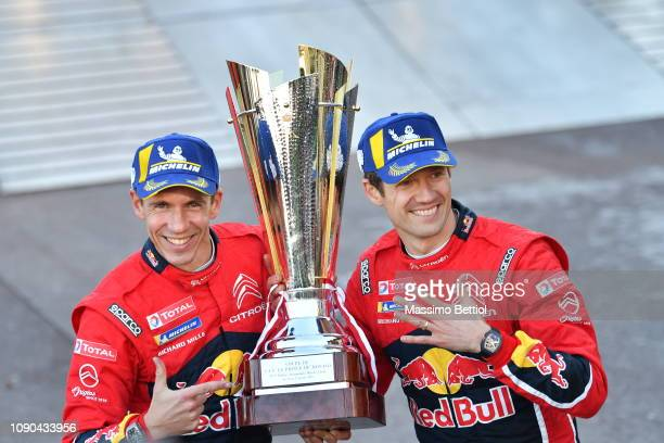 Sebastien Ogier of France and Julien Ingrassia of France are celebrating their victory in the final podium in Monaco during Day Three of the WRC...