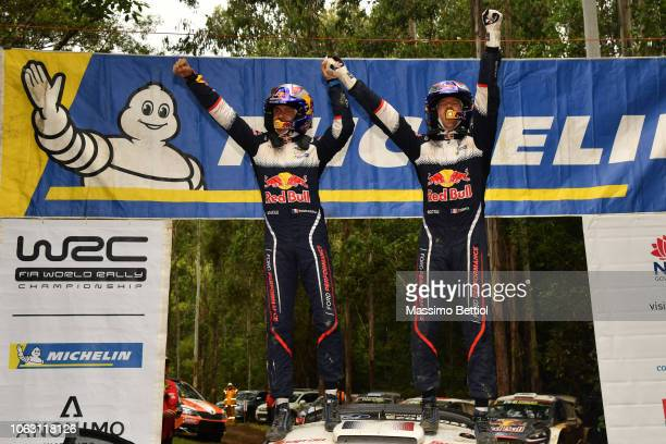 Sebastien Ogier of France and Julien Ingrassia of France celebrate their sixth World Rally Title during Day Three of the WRC Australia on November 18...