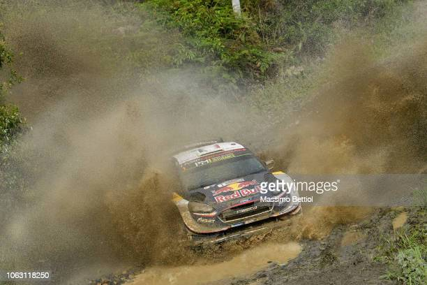 Sebastien Ogier of France and Julien Ingrassia of France compete in their MSport Ford WRT Ford Fiesta WRC during Day Three of the WRC Australia on...