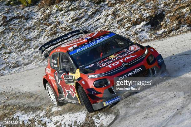 Sebastien Ogier of France and Julien Ingrassia of France compete in their Citroen Total WRT Citroen C3 WRC during Day Two of the WRC MonteCarlo on...