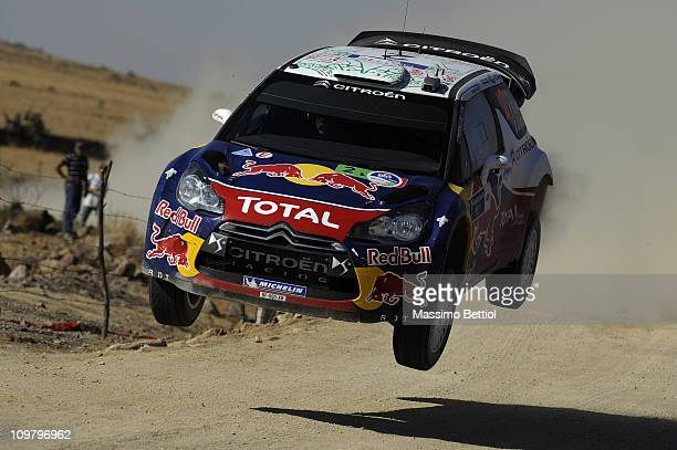 Sebastien Ogier of France and Julien Ingrassia of France compete in their Citroen Total WRT Citroen DS3 WRC during Leg2 of the WRC Rally Mexico on...