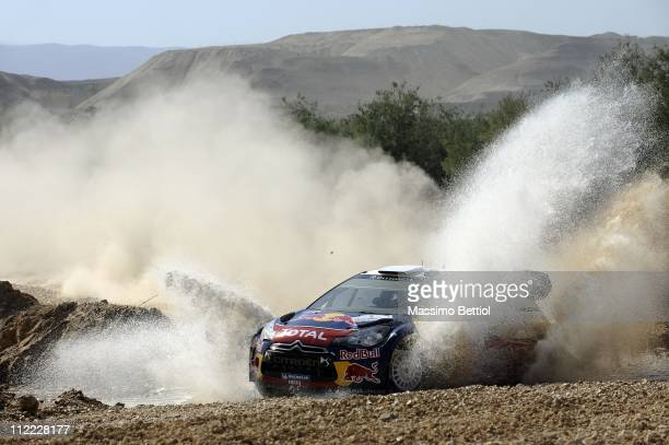 Sebastien Ogier of France and Julien Ingrassia of France compete in their Citroen Total WRT Citroen DS3 WRC during Day 1 of the WRC Rally Jordan on...