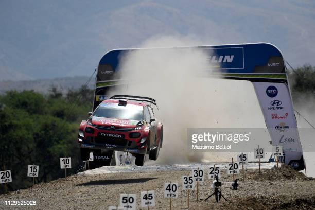 Sebastien Ogier of France and Julien Ingrassia of France compete in their Citroen Total WRT Citroen C3 WRC during Day Two of the WRC Mexico on March...