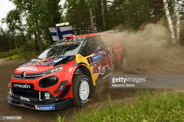 Sebastien Ogier of France and Julien Ingrassia of France compete in ther Citroen Total WRT Citron C3 WRC during the Shakedown of the FIA WRC Neste...