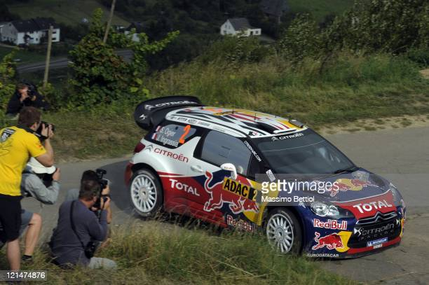 Sebastien Ogier of France and Julien Ingrassia of France compete in their Citroen Total WRT Citroen DS3 WRC during Day1 of the WRC Rally of Germany...