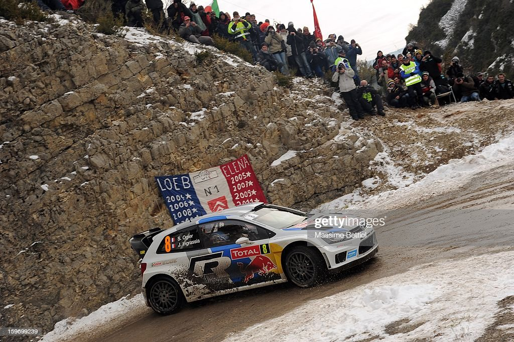 Sebastien Ogier of France and Julien Ingrassia of France compete in their Volkswagen Motorsport Volkswagen Polo WRC during Day Three of the WRC Monte-Carlo on January 18 , 2013 in Montecarlo ,Monaco.