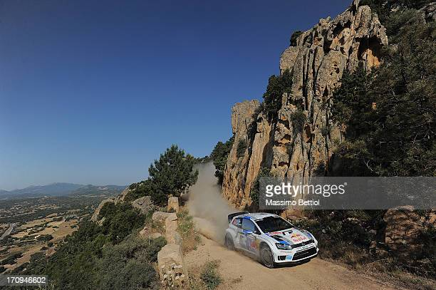 Sebastien Ogier of France and Julien Ingrassia of France compete in their Volkswagen Motorsport Polo R WRC during the Shakedown of the WRC Italy on...