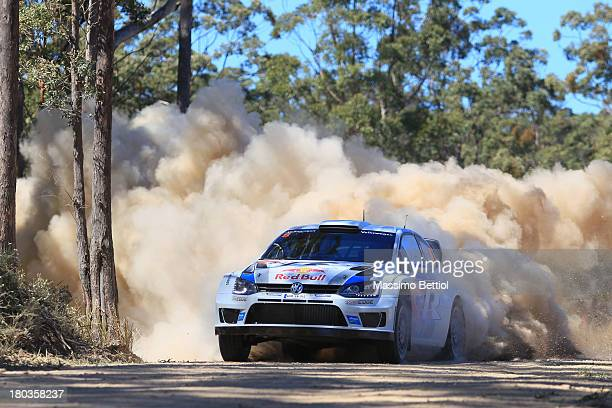 Sebastien Ogier of France and Julien Ingrassia of France compete in their Volkswagen Motorsport Polo R WRC during the Shakedown of the WRC Australia...