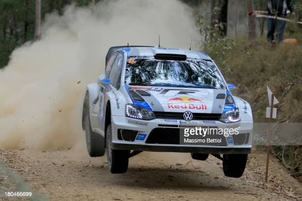Sebastien Ogier of France and Julien Ingrassia of France compete in their Volkswagen Motorsport Polo R WRC during Day One of the WRC Australia on...