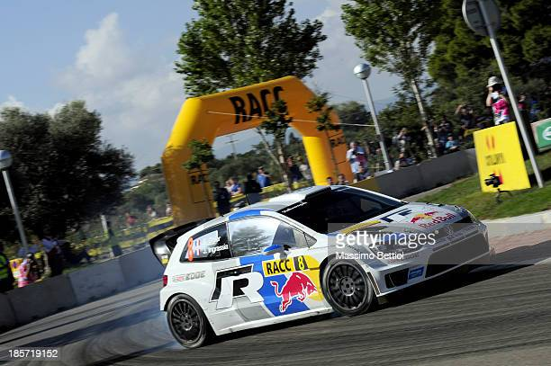 Sebastien Ogier of France and Julien Ingrassia of France compete in their Volkswagen Motorsport Polo R WRC during the Shakedown of the WRC Spain on...