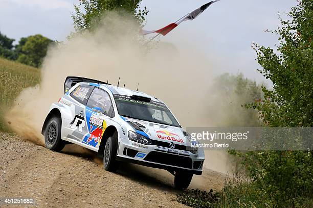 Sebastien Ogier of France and Julien Ingrassia of France compete in their Volkswagen Motorsport Polo R WRC during the Shakedown of the WRC Poland on...