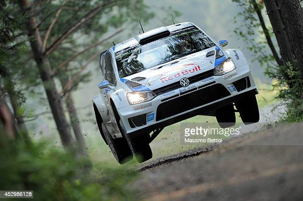 Sebastien Ogier of France and Julien Ingrassia of France compete in their Volkswagen Motorsport Polo R WRC during the Shakedown of the WRC Finland on...