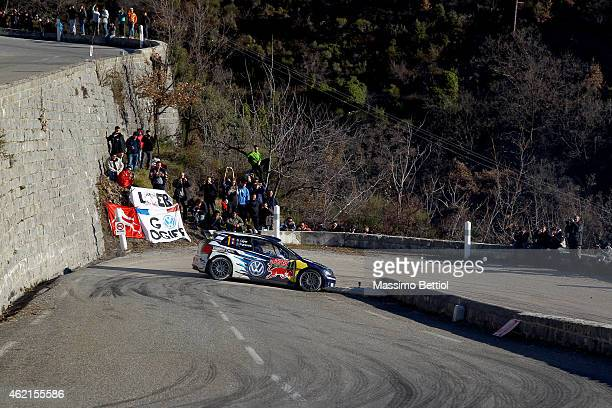 Sebastien Ogier of France and Julien Ingrassia of France compete in their Volkswagen Motorsport Polo R WRC during Day Four of the WRC Montecarlo on...