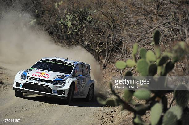 Sebastien Ogier of France and Julien Ingrassia of France compete in their Volkswagen Motorsport Polo R WRC during the Shakedown of the WRC Mexico on...