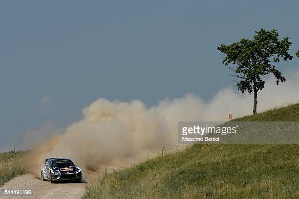 Sebastien Ogier of France and Julien Ingrassia of France compete in their Volkswagen Motorsport WRT Volkswagen Polo R WRC during Day Two of the WRC...