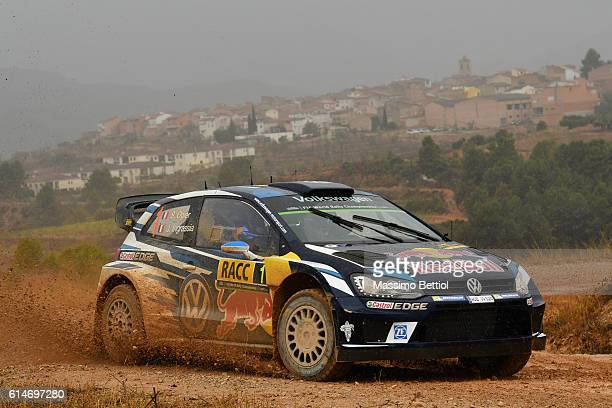 Sebastien Ogier of France and Julien Ingrassia of France compete in their Volkswagen Motorsport WRT Volkswagen Polo R WRC during Day One of the WRC...