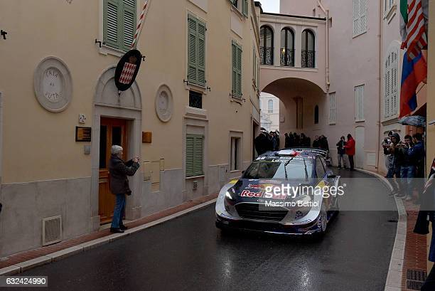 Sebastien Ogier of France and Julien Ingrassia of France compete in their MSport WRT Ford Fiesta WRC during day four of the WRC MonteCarlo on January...