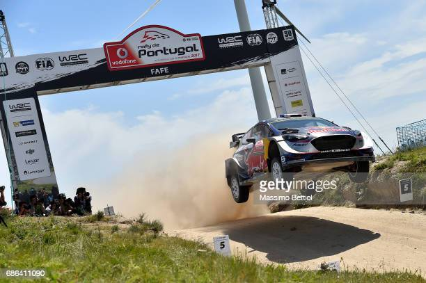 Sebastien Ogier of France and Julien Ingrassia of France compete in their MSport WRT Ford Fiesta WRC during Day Three of the WRC Portugal on May 21...