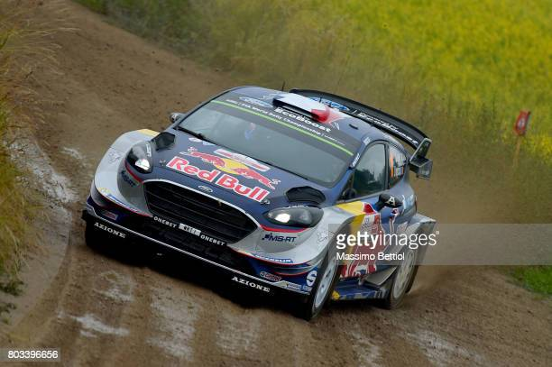 Sebastien Ogier of France and Julien Ingrassia of France compete in their MSport WRT Ford Fiesta WRC during the Shakedown of the WRC Poland on June...