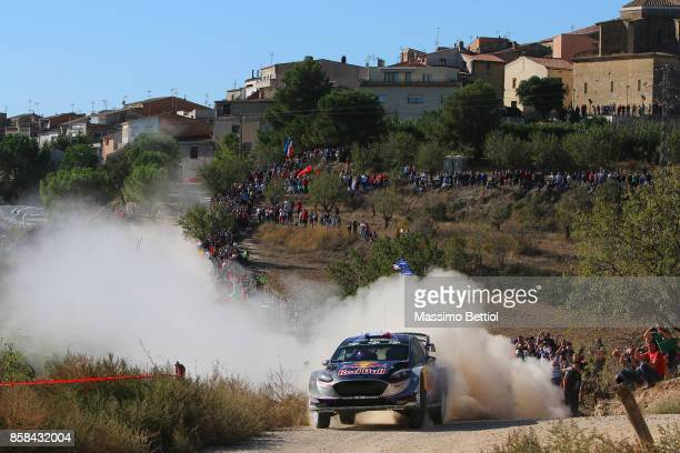 Sebastien Ogier of France and Julien Ingrassia of France compete in their MSport WRT Ford Fiesta WRC during Day One of the WRC Spain on October 6...