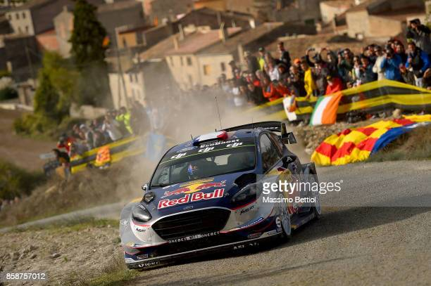 Sebastien Ogier of France and Julien Ingrassia of France compete in their MSport WRT Ford Fiesta WRC during Day Two of the WRC Spain on October 7...