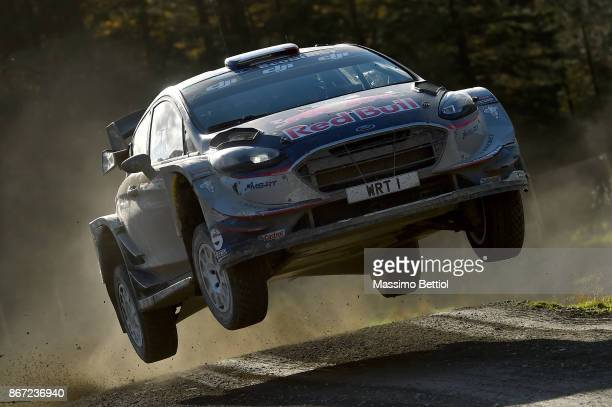 Sebastien Ogier of France and Julien Ingrassia of France compete in their MSport WRT Ford Fiesta WRC during Day One of the WRC Great Britain on...