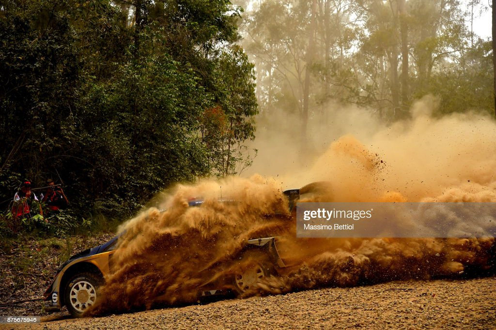 Sebastien Ogier of France and Julien Ingrassia of France compete in their M-Sport WRT Ford Fiesta WRC during Day Two of the WRC Australia in special stage number 10 Newry on November 18, 2017 in Coffs Harbour, Australia.