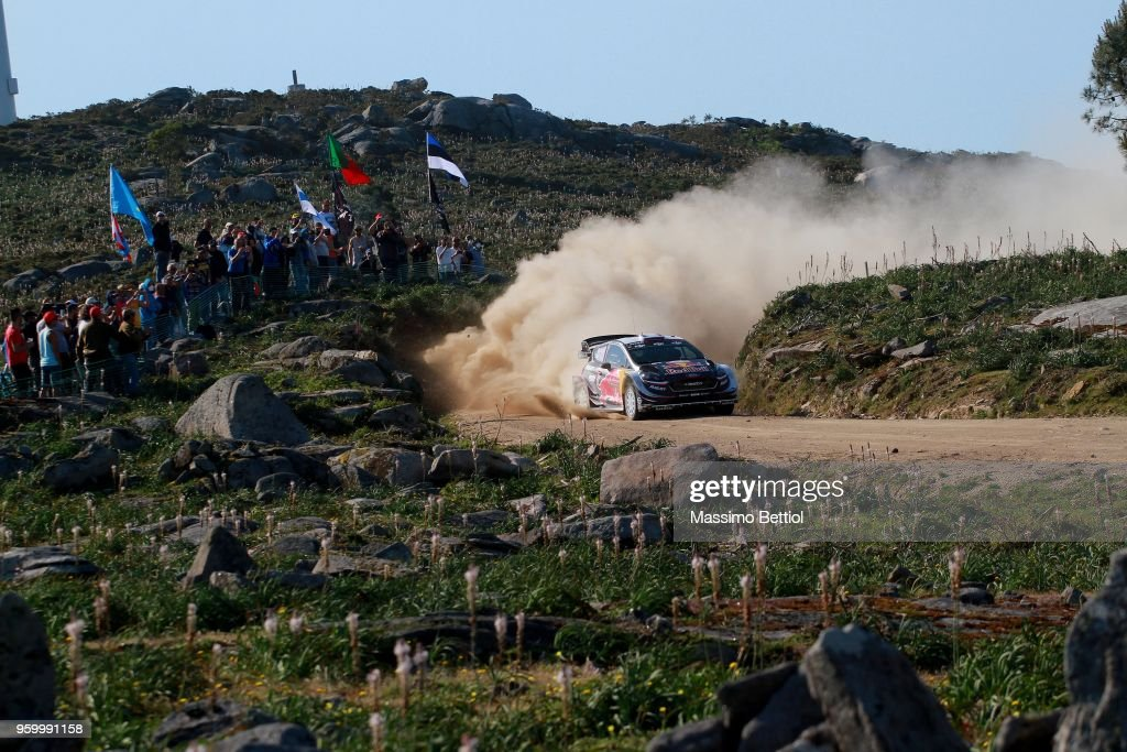 Sebastien Ogier of France and Julien Ingrassia of France compete in their M-Sport Ford WRT Ford Fiesta WRC during Day Two of the WRC Portugal on May 18, 2018 in Faro, Portugal.