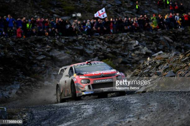 Sebastien Ogier of France and Julien Ingrassia of France compete with their Citroen Total WRT Citroen C3 WRC during Day One of the WRC Dayinsure...