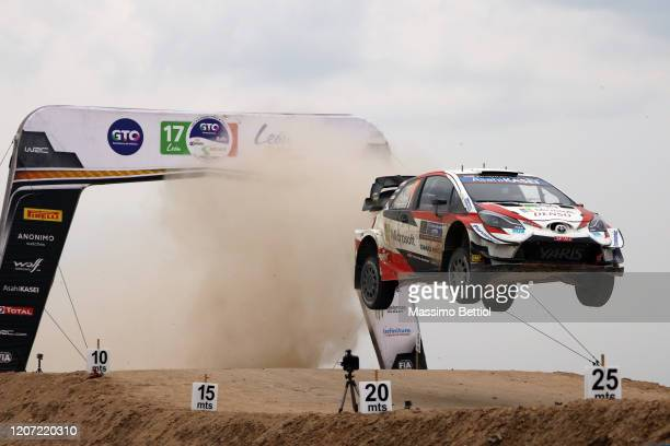 Sebastien Ogier of France and Julien Ingrassia of France compete with their Toyota Gazoo Racing WRT Toyota Yaris WRC during FIA World Rally...