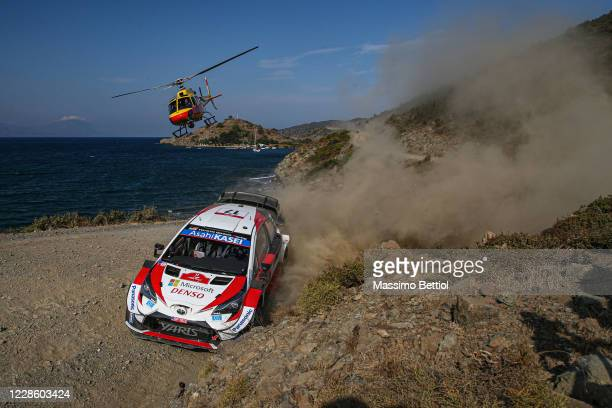Sebastien Ogier of France and Julien Ingrassia of France compete with their Toyota Gazoo Racing WRT Toyota Yaris WRC during Day One of the FIA World...